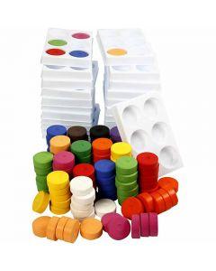 Waterverf, H: 16 mm, d: 44 mm, diverse kleuren, 1 set