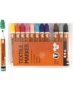 Textielstiften, lijndikte 2-4 mm, diverse kleuren, 12 stuk/ 1 doos
