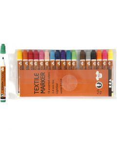 Textielstiften, lijndikte 2-4 mm, diverse kleuren, 18 stuk/ 1 doos