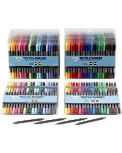 Textielstiften, lijndikte 2,3+3,6 mm, standaardkleuren, extra kleuren, 24x20 stuk/ 1 doos