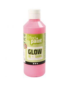 Glow in the dark, fluorescerende lichtrood, 250 ml/ 1 fles