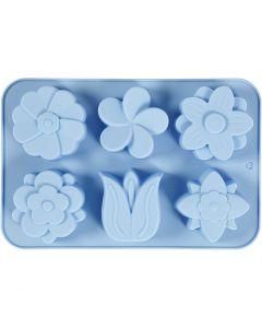 Silicone vormen, bloemen, H: 2,6 cm, L: 30 cm, B: 21 cm, gatgrootte 60x75 mm, 75 ml, 1 stuk