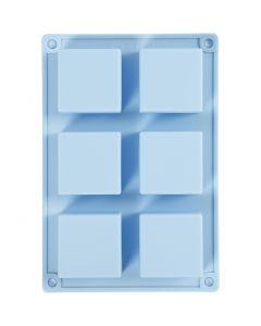 Silicone vormen, H: 2,5 cm, L: 21,5 cm, B: 14,5 cm, gatgrootte 5 x 5  cm, 60 ml, 1 stuk
