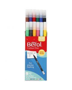 Berol Colourfine, d: 10 mm, lijndikte 0,3-0,7 mm, diverse kleuren, 12 stuk/ 1 doos