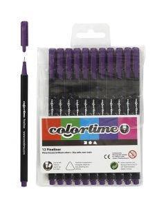 Colortime Fineliner , lijndikte 0,6-0,7 mm, paars, 12 stuk/ 1 doos