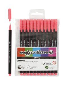 Colortime Fineliner , lijndikte 0,6-0,7 mm, roze, 12 stuk/ 1 doos