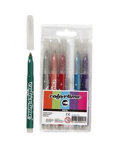 Colortime glitterstiften, lijndikte 4,2 mm, diverse kleuren, 6 stuk/ 1 doos