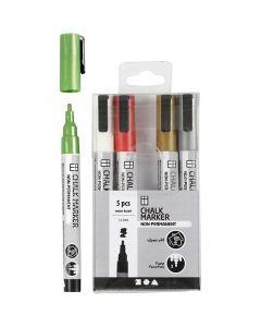 Chalk markers, lijndikte 1,2-3 mm, metallic kleuren, 5 stuk/ 1 doos