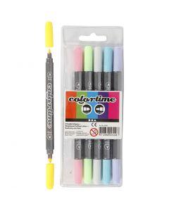 Colortime dubbelstift, lijndikte 2,3+3,6 mm, pastelkleuren, 6 stuk/ 1 doos