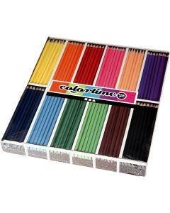 Colortime kleurpotloden, L: 17,45 cm, vulling 3 mm, diverse kleuren, 12x12 stuk/ 1 doos
