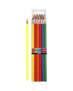 Colortime kleurpotloden, L: 17,45 cm, vulling 3 mm, neon kleuren, 6 stuk/ 1 doos