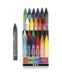 Colortime kleurkrijt, L: 10 cm, dikte 11 mm, diverse kleuren, 12 stuk/ 1 doos