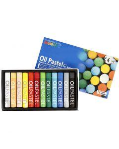 Mungyo Oliepastel, L: 7 cm, dikte 11 mm, diverse kleuren, 12 stuk/ 1 doos