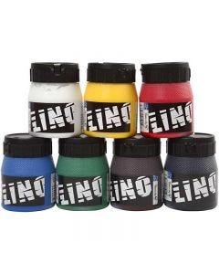 Linoleum verf, diverse kleuren, 7x250 ml/ 1 doos