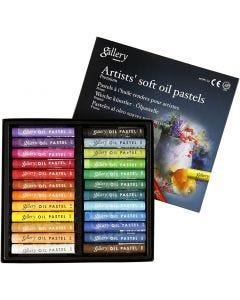 Gallery Oliepastel Premium, L: 7 cm, dikte 10 mm, diverse kleuren, 24 stuk/ 1 doos