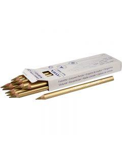 Super Ferby 1 Kleurpotloden, L: 18 cm, vulling 6.25 mm, goud, 12 stuk/ 1 doos