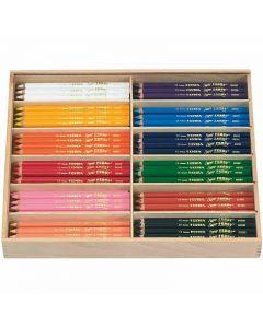 Super Ferby 1 Kleurpotloden, L: 18 cm, vulling 3 mm, diverse kleuren, 144 stuk/ 1 doos