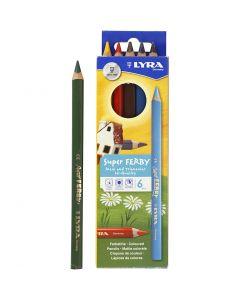 Super Ferby 1 Kleurpotloden, L: 18 cm, vulling 3 mm, diverse kleuren, 6 div/ 1 doos
