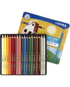 Super Ferby 1 Kleurpotloden, L: 18 cm, vulling 3 mm, diverse kleuren, 18 stuk/ 1 doos