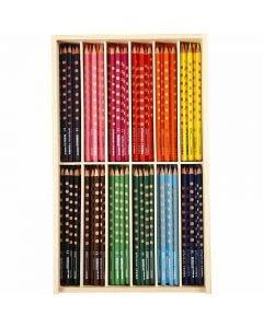 Groove Dunne Kleurpotloden, L: 18 cm, vulling 3,3 mm, diverse kleuren, 144 stuk/ 1 doos