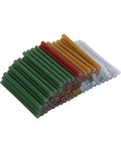 Lijmpistool vullingen, L: 10 cm, d: 7 mm, glitter, goud, groen, rood, zilver, 100 stuk/ 1 doos