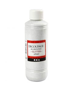 Decoupage lijmlak, glitter, zilver, 250 ml/ 1 fles