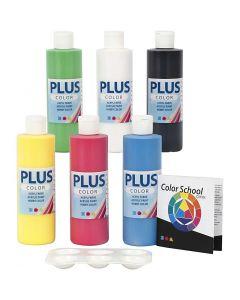 Plus Color acrylverf, primair kleuren, 6x250 ml/ 1 doos
