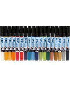 Plus Color Marker, L: 14,5 cm, lijndikte 1-2 mm, diverse kleuren, 18 stuk/ 1 doos, 5,5 ml