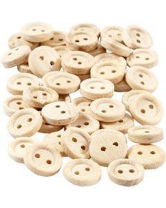 Houten knopen, d: 11 mm, 2 gaten, 50 stuk/ 1 doos