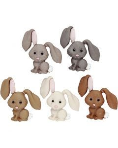 Knopen met motief, konijntjes, H: 28 mm, 5 stuk/ 1 doos