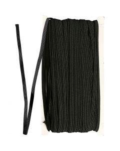 Elastiek, B: 6 mm, zwart, 50 m/ 1 rol