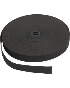 Elastiek, B: 20 mm, zwart, 25 m/ 1 rol