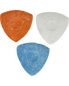 Kleermakerskrijt, d: 5,5 cm, blauw, rood, wit, 3 stuk/ 1 doos