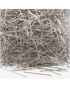 Kopspelden, L: 30 mm, dikte 0,55 mm, zilver, 500 gr/ 1 doos