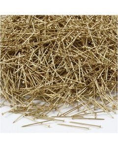 Kopspelden, L: 18 mm, dikte 0,6 mm, goud, 500 gr/ 1 doos