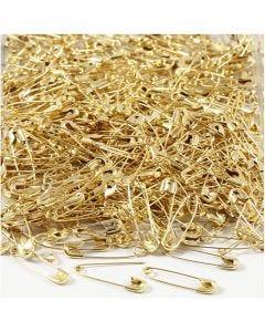 Veiligheidsspelden, L: 22 mm, dikte 0,6 mm, goud, 500 stuk/ 1 doos