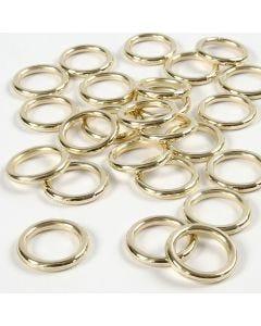 Plastic ring, afm 15 mm, dikte 2 mm, goud, 25 stuk/ 1 doos