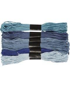 Borduurgaren, dikte 1 mm, blauw harmonie, 6 bol/ 1 doos