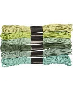 Borduurgaren, dikte 1 mm, groen glitter, 6 bol/ 1 doos