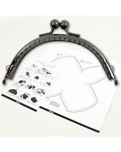 Portemonnee gesp kit, afm 10 cm, antiek zilver, 1 stuk
