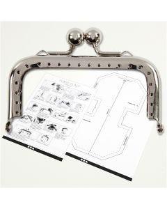 Portemonnee gesp kit, afm 8 cm, zilver, 1 stuk