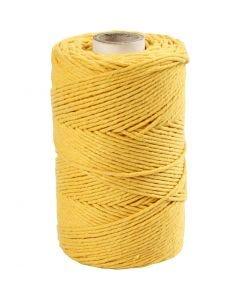 Macramé koord, L: 198 m, d: 2 mm, geel, 330 gr/ 1 rol