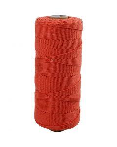 Katoenkoord, L: 315 m, dikte 1 mm, Dunne kwaliteit 12/12, oranje, 220 gr/ 1 bol