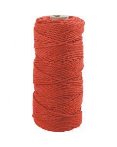 Katoenkoord, L: 100 m, dikte 2 mm, Dikke kwaliteit 12/36, oranje, 225 gr/ 1 bol
