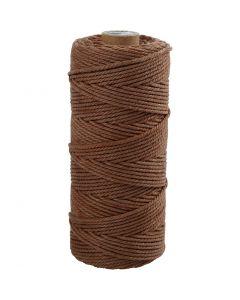 Katoenkoord, L: 100 m, dikte 2 mm, Dikke kwaliteit 12/36, bruin, 225 gr/ 1 bol