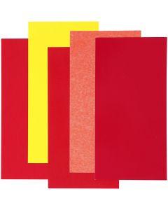 Color Dekor, rood/oranje/geel harmoniet, 5 div vellen/ 1 doos