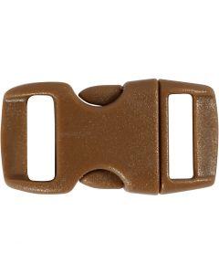 Klik sluiting, L: 29 mm, B: 15 mm, gatgrootte 3x11 mm, bruin, 4 stuk/ 1 doos