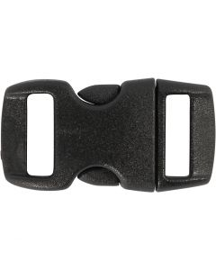 Klik sluiting, L: 29 mm, B: 15 mm, gatgrootte 3x11 mm, zwart, 4 stuk/ 1 doos