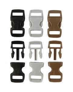 Klik sluiting, L: 29 mm, B: 15 mm, gatgrootte 3x11 mm, zwart, bruin, grijs, 100 stuk/ 1 doos