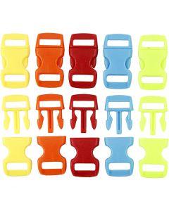 Klik sluiting, L: 29 mm, B: 15 mm, gatgrootte 3x11 mm, diverse kleuren, 100 stuk/ 1 doos